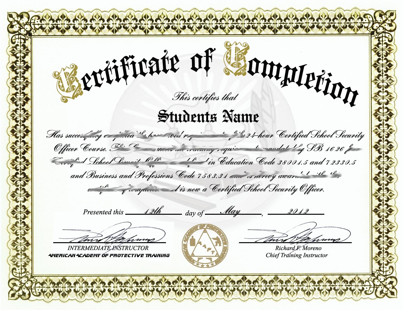 School Security Guard Certification Sb1626 That Is Required By Any Usd
